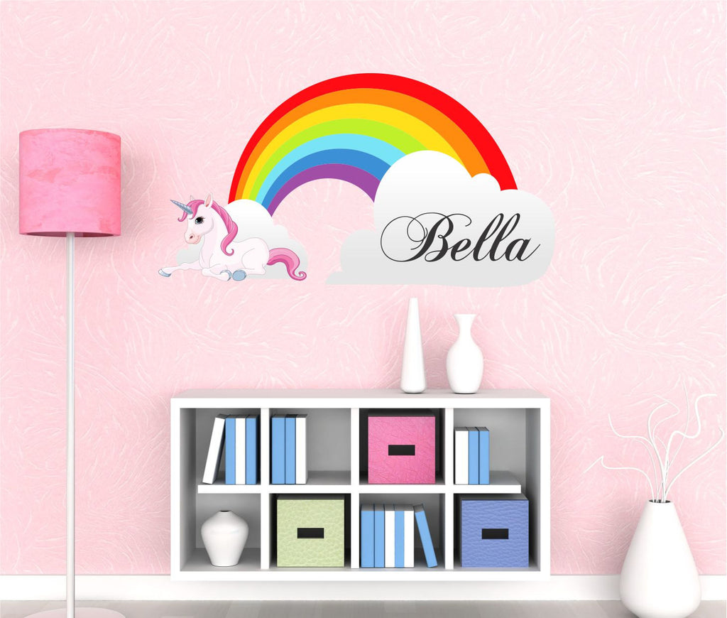 Girls Name Rainbow Wall Decal By Decor Designs Decals Unicorn Decals - Wall decals for girls