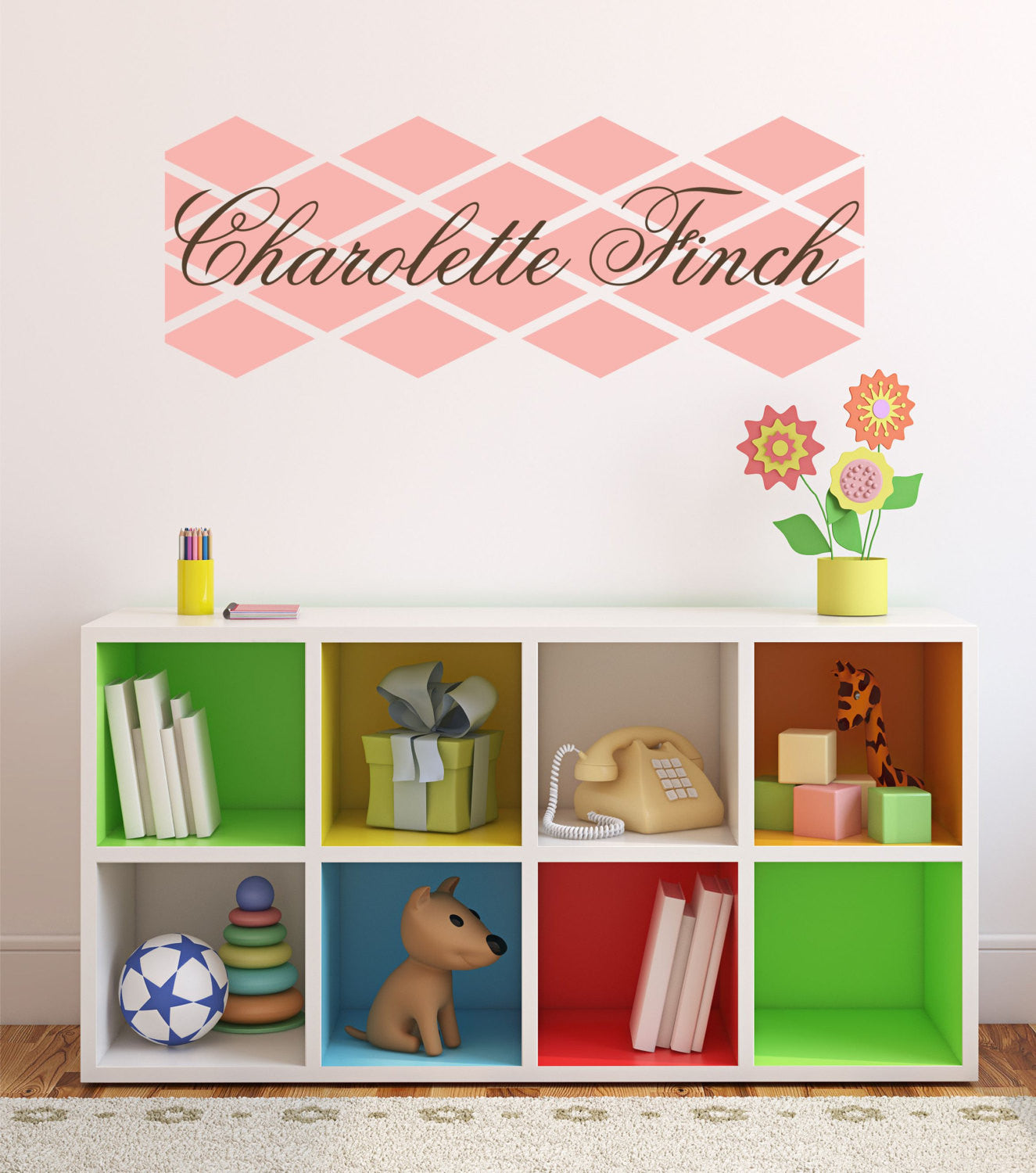 Pink Diamond Custom Name Personalized Vinyl Wall Decal Sticker - Custom vinyl wall decal