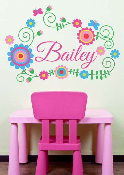 Flower Wreath Personalized Custom Name Printed Fabricvinyl Wall Decal Sticker - Decor Designs Decals
