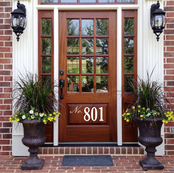 Front Door Number Decal • by Decor Designs Decals, Street Number On Your Front Door Adds Curb Appeal - House Address Number Door Decal Spring Decor Made In Usa Z45 - Decor Designs Decals - 1