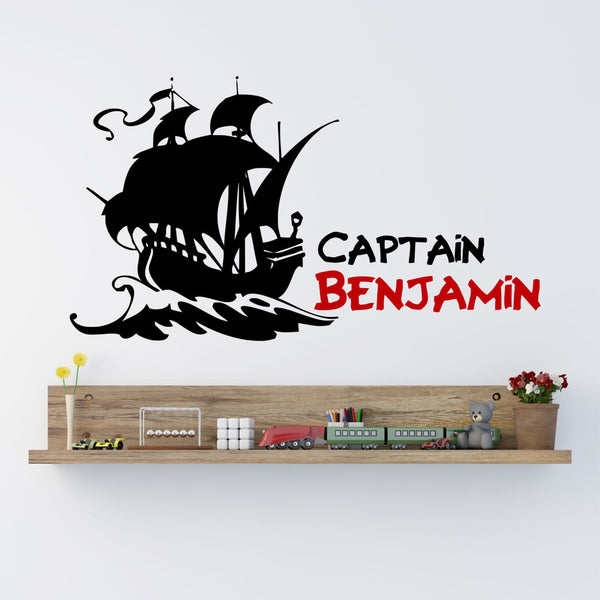 Pirate Ship Boys Name Wall Decal - by Decor Designs Decals, pirate wall decal, pirate ship decal, boys decal, boys nursery decal, boys room decal, kids room decal Z8 - Decor Designs Decals - 1