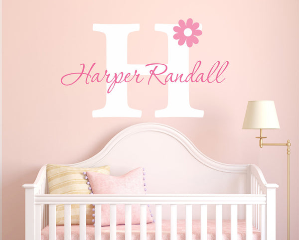 Nursery Flower Name Wall Decal - by Decor Designs Decals, Flower wall decal - Girls Name Daisy - Nursery Wall Decal- Girls Wall Decal- Teen Decal - Flower Decal Z19 - Decor Designs Decals - 1