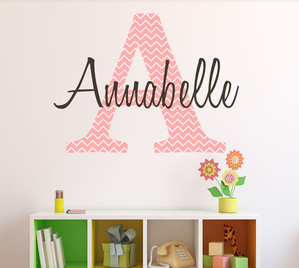 Personalized Chevron Pattern Print Name- by Decor Designs Decals, Monogram Girls Wall Decal Pink Chevron Decal Girls Bedroom Nursery Wall Decor Girls Wall Decals A16 - Decor Designs Decals - 1