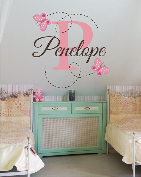 Flutter Butterflies Initial And Name Custom Name Printed Fabricvinyl Wall Decal Sticker - Decor Designs Decals