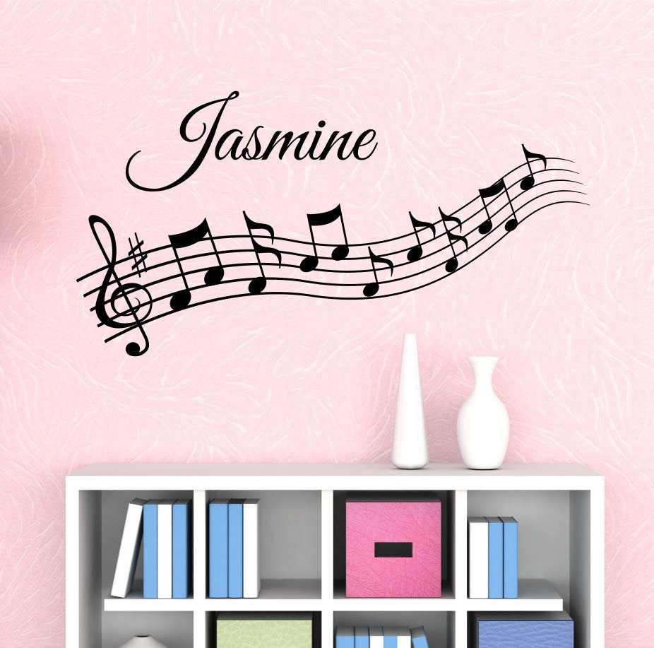 Music notes custom name wall decal by decor designs for Decor names