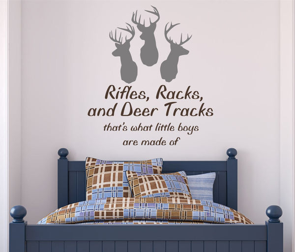 Rifles, Racks, and Deer Tracks Decal -by Decor Designs Decals, Hunting decal Deer decal Hunting decal Deer wall decal Hunting decor Hunting sticker Buck decal - Decor Designs Decals - 1