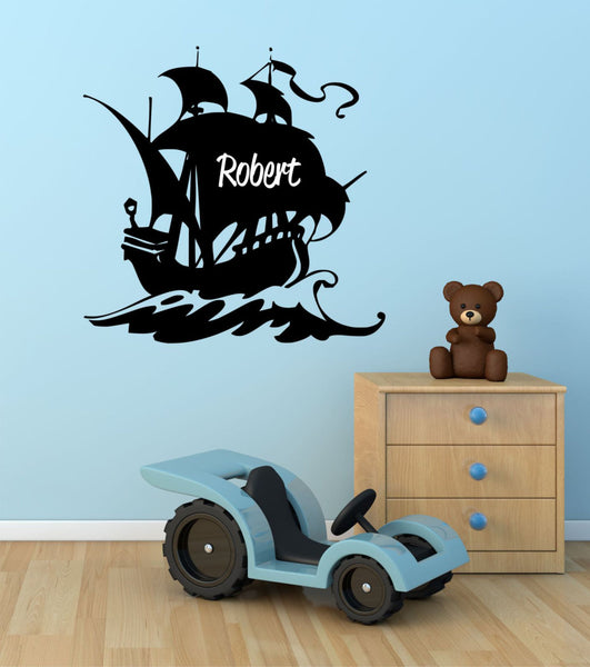 Pirate Ship Custom Name Vinyl Wall Decal Sticker - Decor Designs Decals - 1