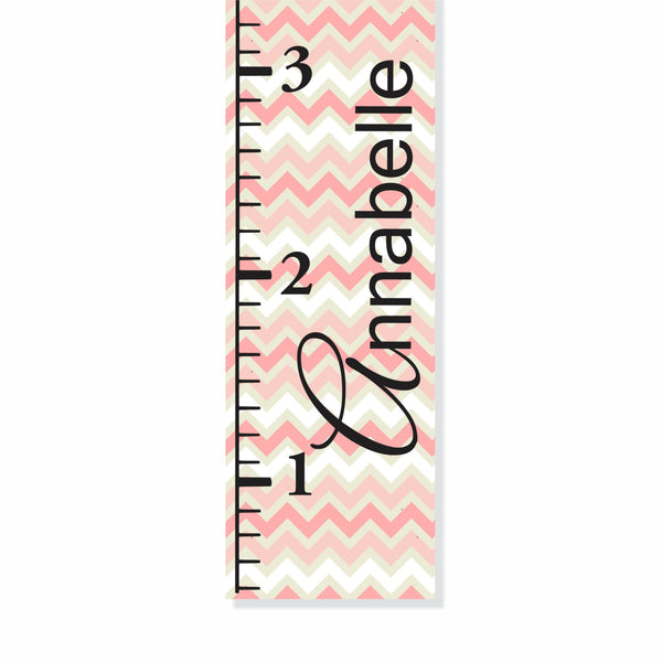 Pink and Green Chevron Canvas Growth Chart - Decor Designs Decals - 1