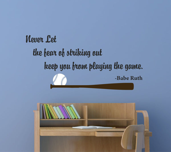 Babe Ruth Quote Wall Decal - Decor Designs Decals - 1