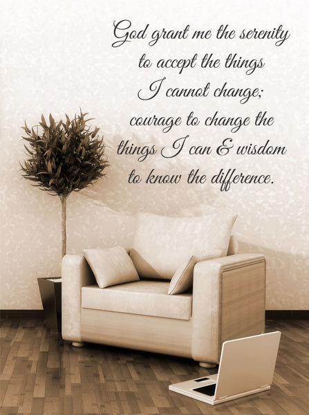 God Grant Me The Serenity To Accept The Things I Cannot Change Quote Vinyl Wall Decal Sticker - Decor Designs Decals - 1
