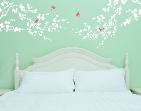 Large Cherry Blossom Branches And Birds Vinyl Wall Decal Sticker - Decor Designs Decals - 1