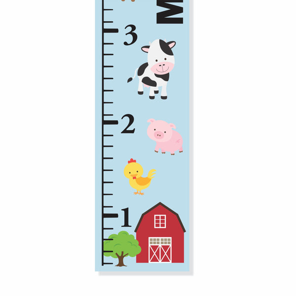 Farm Animals Canvas Growth Chart - Decor Designs Decals - 1