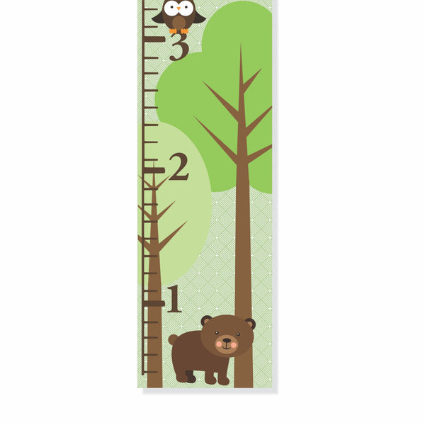Woodland Bear And Owl Personalized Canvas Growth Chart - Decor Designs Decals - 1