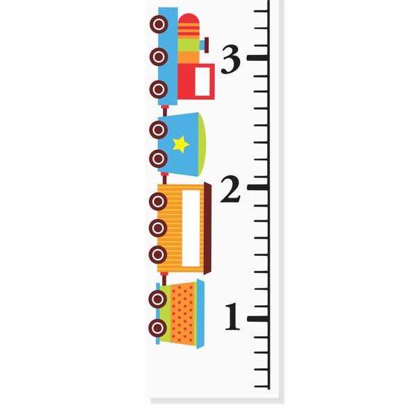Cute Train Personalized Canvas Growth Chart- by Decor Designs Decals - Decor Designs Decals - 1
