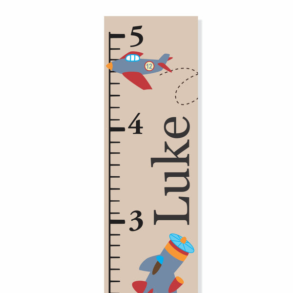 Planes Canvas Growth Chart - Decor Designs Decals - 1