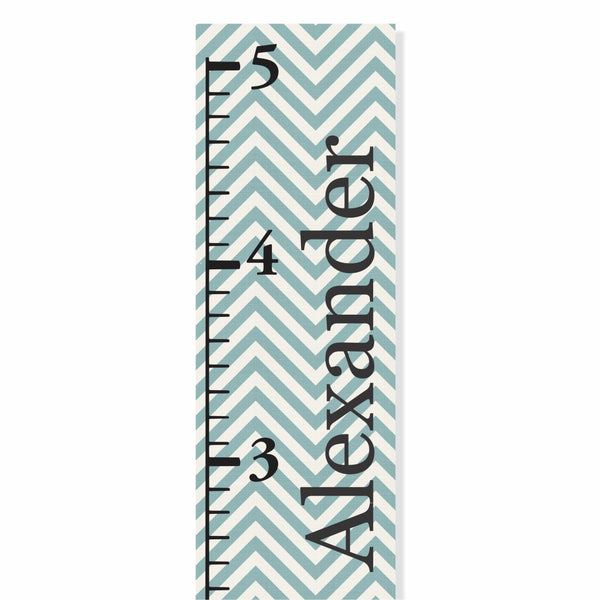 Blue Chevron Canvas Growth Chart - Decor Designs Decals - 1