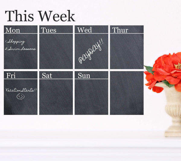 Chalkboard Weekly Calendar Decal - Decor Designs Decals