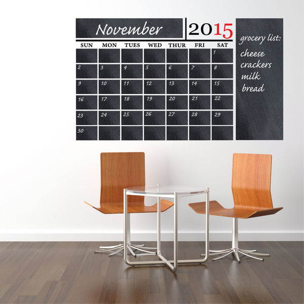 Chalkboard Calendar Decal - Decor Designs Decals - 1
