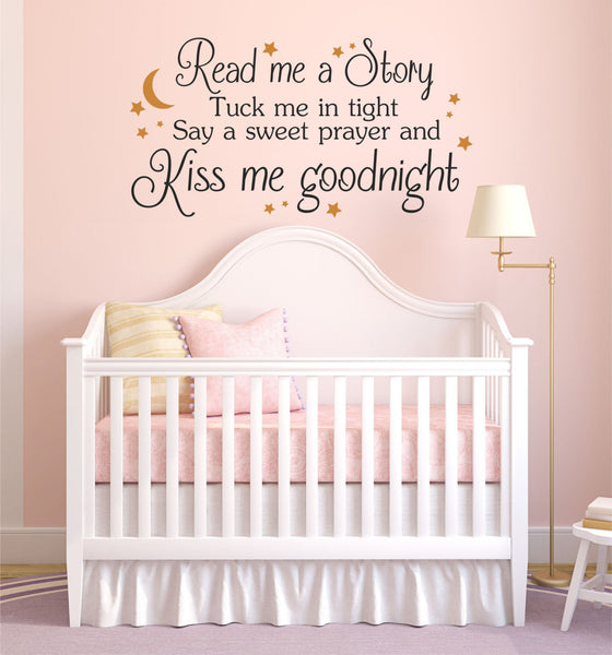 Read Me A Story, Kiss Me Goodnight Quote Children's Nursery Vinyl Wall Decal Sticker - Decor Designs Decals - 1