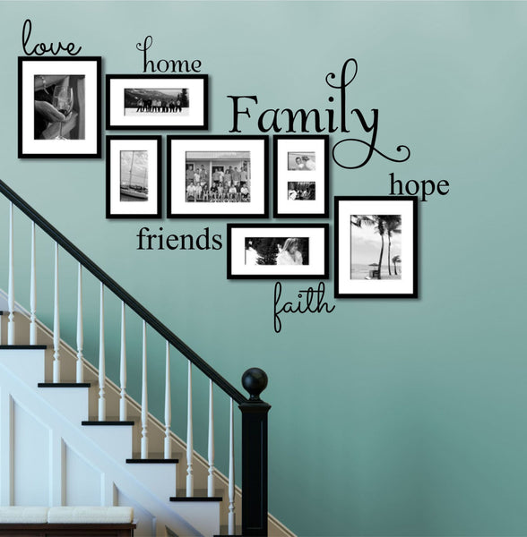 Family Wall Decal - by Decor Designs Decals, Set Of 6 Family Words - Family Room Wall Decals - Wall Art - Family Decals - Family Words Decal- Family Quote Decals U21 - Decor Designs Decals - 1