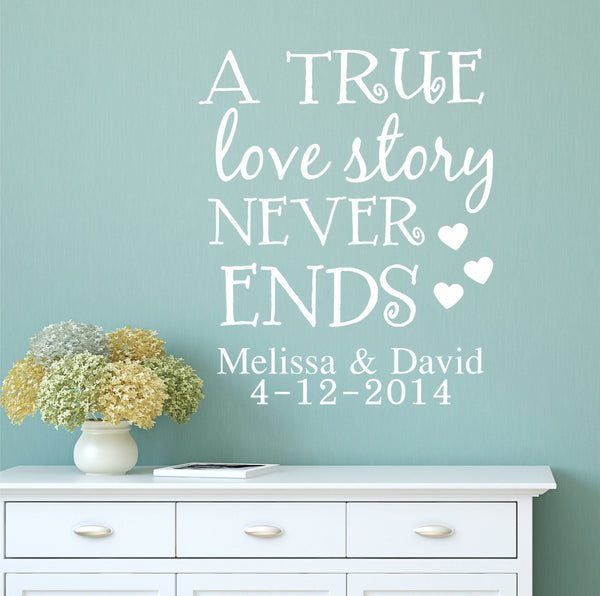 True Love Story Wall Decal -  Wedding Decals, Wedding Date Decals, True Love Quote Wall Decals, Decals, Bedroom Decals, Stickers PP22 - Decor Designs Decals - 1