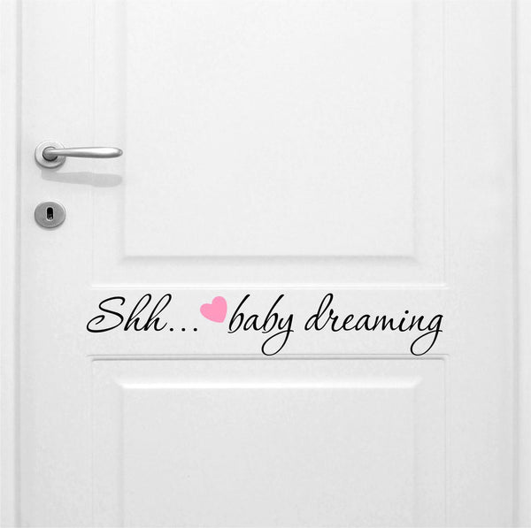Shhh…baby Sleeping Girl's Quote Vinyl Wall Decal Sticker - Decor Designs Decals - 1