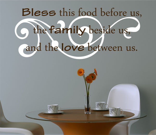 Kitchen Decals - Bless The Food Before Us Wall Decal - Kitchen Vinyl Decal, Bless Our Family Decal, Kitchen Quotes, Vinyl Quote, Decals- H53 - Decor Designs Decals - 1