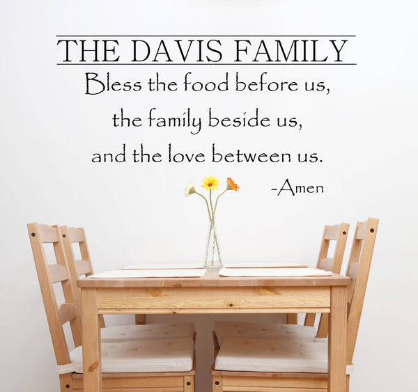 Kitchen Decals - Bless The Food Before Us Wall Decal - by Decor Designs Decals, Kitchen Vinyl Decal - Bless Our Family Decal - Kitchen Quotes - Vinyl Quote - PP29 - Decor Designs Decals - 1