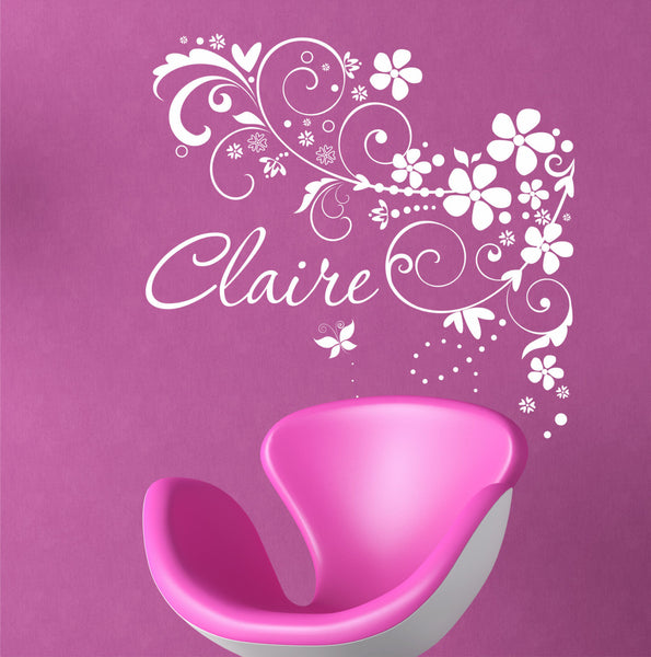 Personalized Custom Name Floral Swirls Vinyl Wall Decal Sticker - Decor Designs Decals - 1