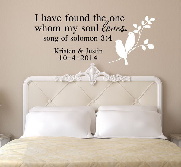 I Have Found The One Whom My Soul Loves, by Decor Designs Decals- I Have Found The One My Soul Loves, Song Of Solomon Wall Decal, Song Of Solomon Wall Art, Pp36 - Decor Designs Decals - 1