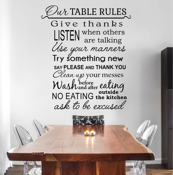 Our Table Rules Kitchen Quote Vinyl Wall Decal Sticker - Decor Designs Decals - 1