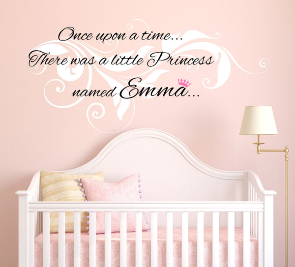 Once Upon A Time... Personalized Custom Quote Vine Swirl Design Vinyl Wall Decal Sticker - Decor Designs Decals - 1