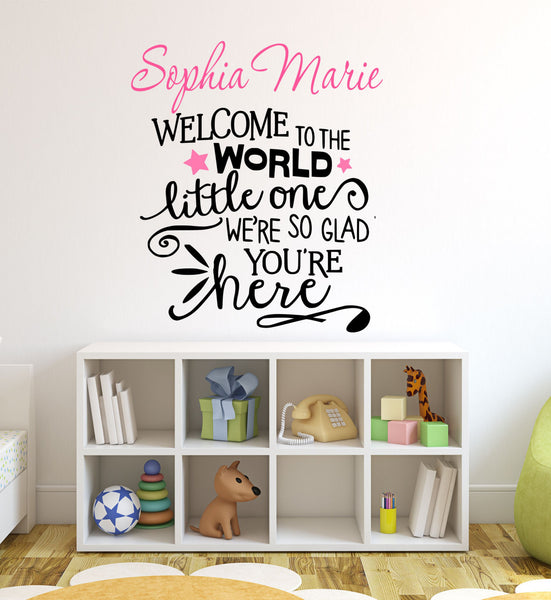 Welcome To The World Little One Personalized Custom Family Name Established Date Quote - Decor Designs Decals - 1