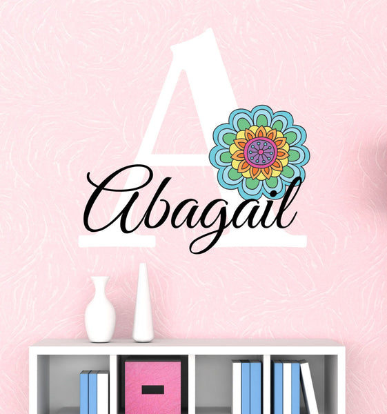 Girls Name Flower Wall Decals - by Decor Designs Decals, Vinyl Wall Decal - Nursery Wall Decal - Girls Wall Decal - Teen Decal - Flower Decal- Rainbow Decals, PP23 - Decor Designs Decals - 1