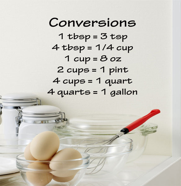 Cooking Conversions Chart Wall Decal - Decor Designs Decals - 1
