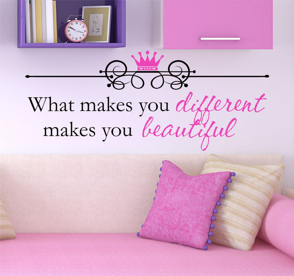 Girls Quote Wall Decal - by Decor Designs Decals, What Makes You Beautiful - Kids Room Decals - Kids Quote - Wall Decals - Princess Decals - Princess Quote Decal H27 - Decor Designs Decals - 1