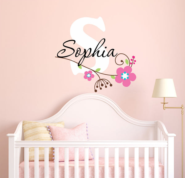 Cursive Personalized Custom Name And Initial Flower Design Vinyl Wall Decal Sticker - Decor Designs Decals - 1