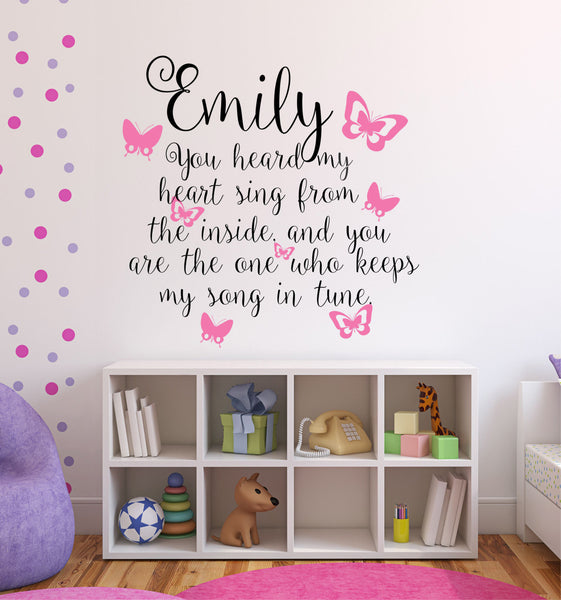 You Heard My Heart Sing Personalized Custom Name Quote Vinyl Wall Decal Sticker - Decor Designs Decals - 1