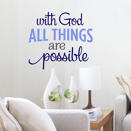 With God All Things Are Possible Quote Sticker Vinyl Wall Decal Sticke
