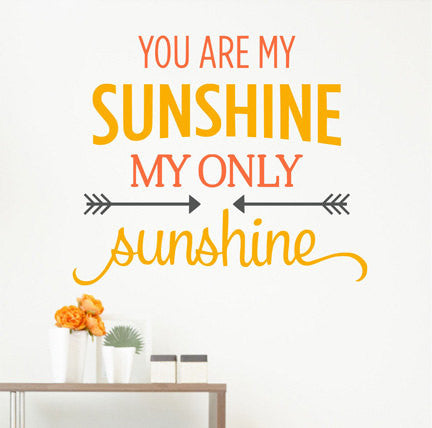 You Are My Sunshine My Only Sunshine Arrow Quote  Sticker Vinyl Wall Decal Sticker - Decor Designs Decals - 1