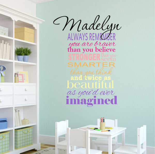 girls name decals l decor designs decals
