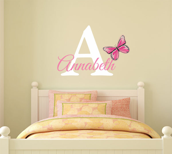Butterfly Name And Initial Wall Decal - Decor Designs Decals - 1