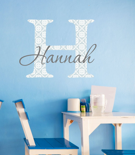 Name and Patterned Initial Wall Decal - Decor Designs Decals - 1
