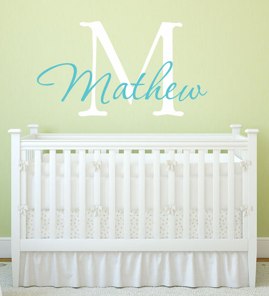 Boy's Name And Initial Wall Decal - Decor Designs Decals - 1