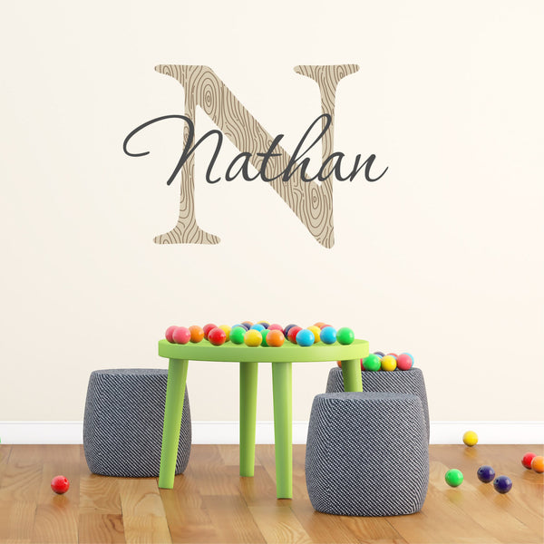 Boys Name and Initial Printed Wall Decal - Decor Designs Decals - 1