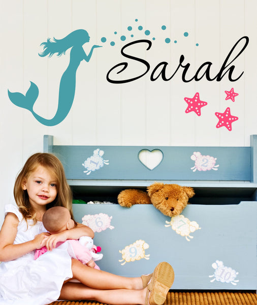 Mermaid And Starfish Name Wall Decal - Decor Designs Decals - 1