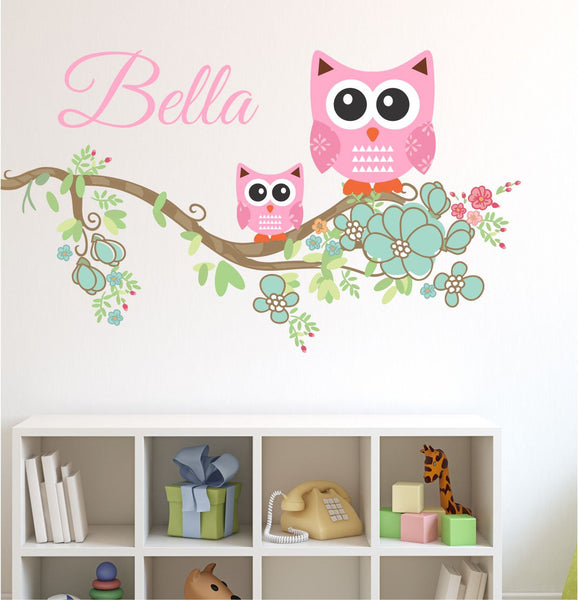 Owl Branch Custom Name Wall Decal - by Decor Designs Decals, Nursery Wall Decals-Branch Decal with Name Decal, Children's Vinyl Wall Decals-Wall Stickers, Girls A22 - Decor Designs Decals - 1