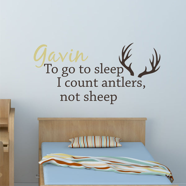Hunting Nursery Decal - by Decor Designs Decals, Deer Antler Decal Vinyl Lettering Count Sheep Wall Decor Wall Sticker Outdoor Nursery Woodsy Nursery Deer Decor B12 - Decor Designs Decals - 1