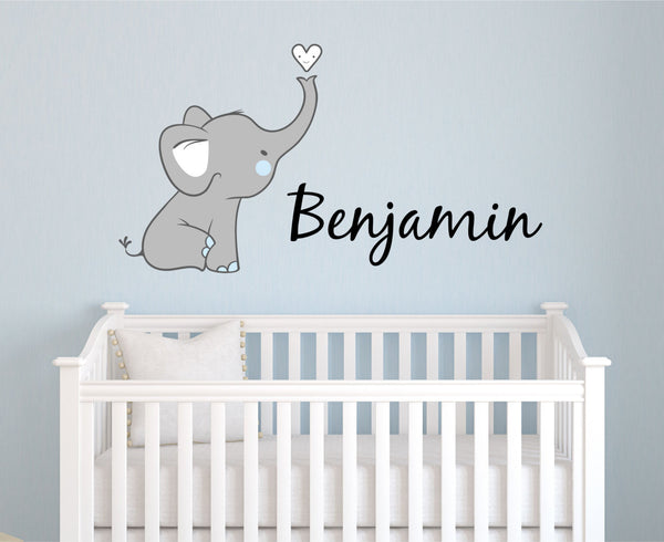 Elephant Name Wall Decal- by Decor Designs Decals, Boys Name Decals, Elephant Nursery Decals, Kids Room Decals, Playroom Decals, Nursery Decor, Animal Decals, K4 - Decor Designs Decals - 1