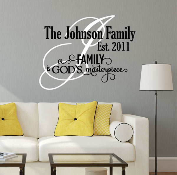 Family Wall Decal- by Decor Designs Decals, God's Masterpiece - Family Quote - Family Wall Sign Vinyl Wall Decal - Christian Wall Decals - Christian Decals - AU2 - Decor Designs Decals - 1